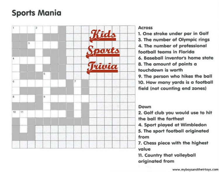 sports mania crossword