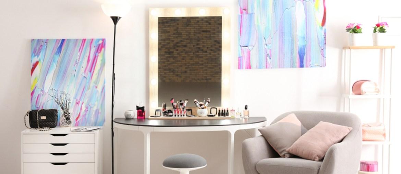 interior with vanity mirror make up