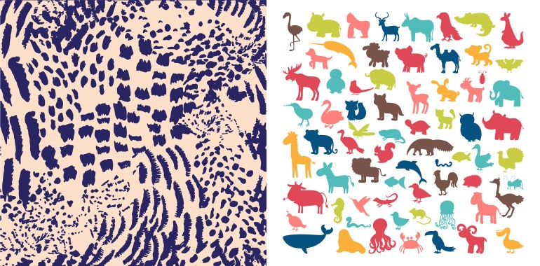 Animal prints and animal silhouettes for wall design