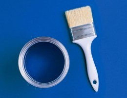 Classic Blue Paint can and paint brush