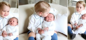 First official photos : Duchess Kate shows Princess Charlotte in her brother's arm