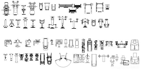 【健身器材 跑步機 踏步機 重量訓練器材 運動器材CAD圖塊】