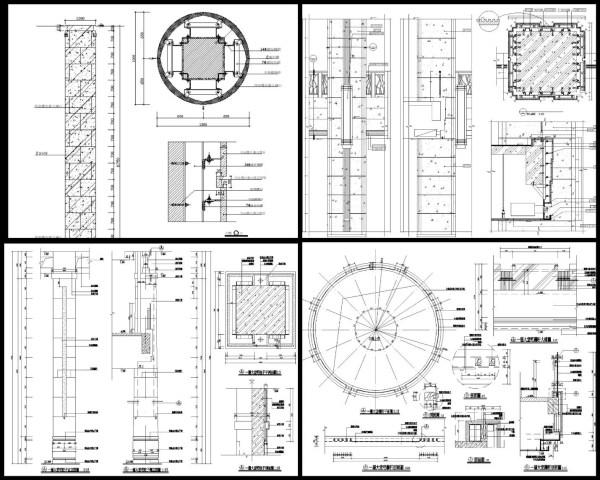 石材柱剖面大樣、石材柱設計、室內設計各類施工大樣、裝潢空間設計大樣、石材牆面介面接口、混凝土與其他材質介面