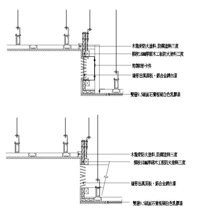 牆紙與石膏板收口節點、壁紙與幕牆收口詳圖、背景牆節點、隔牆地坪接點、木作牆面接點、石材牆面介面接口、混凝土與其他材質介面