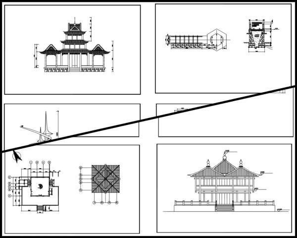 中式古建築剖立面、亭子 ,傳統樣式亭子、硬山頂、懸山頂、歇山頂、廡殿頂、攢間頂、卷棚頂,中國風古典設計,中式元素及精選案例,臺基,柱礎,鋪面,欄杆,屋身,斗栱,屋頂,門與窗,隔斷,天花與藻井,裝飾,中國景觀庭園元素,窗戶設計,門設計,梁、柱、檁、椽、枋,中國風牆面樣式,剖立面設計圖
