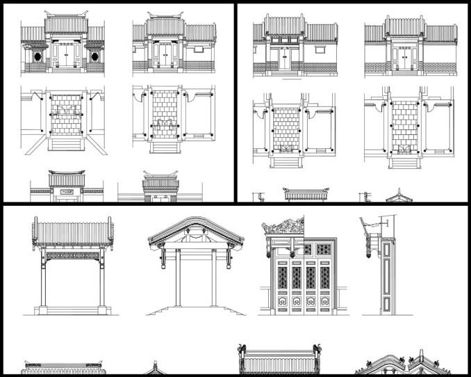 大門,中國風古典設計,中式元素及精選案例,,門與窗,隔斷,裝飾,中國景觀庭園元素,窗戶設計,門設計,,中國風牆面樣式,剖立面設計圖
