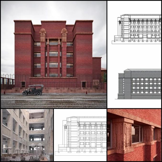 【世界知名建築案例研究CAD設計施工圖】拉金行政辦公樓Larkin building-法蘭克·洛伊·萊特 Frank Lloyd Wright