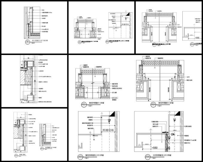 【各類CAD Details細部大樣圖庫】壁紙與幕牆收口詳圖CAD大樣圖