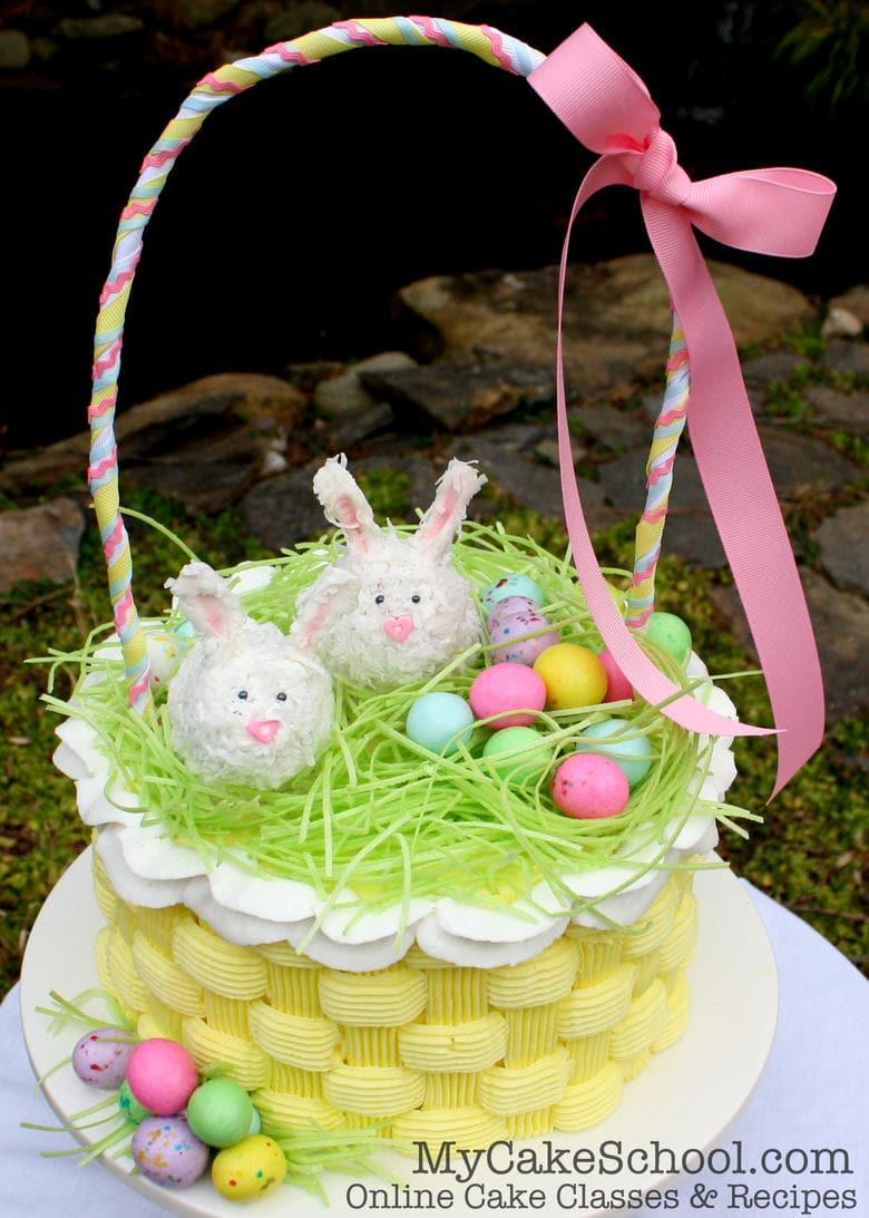 Easter Basket Cake Video With Buttercream Basketweave My Cake School