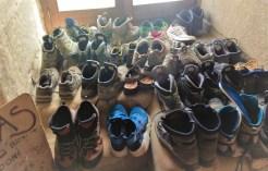Shoes at san Juan BAutista Albergue Grañon Camino de Santiago