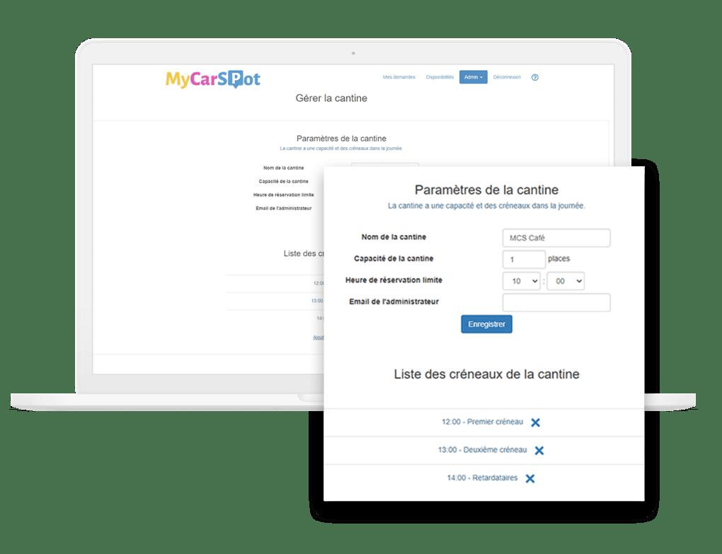 Gestion cantine entreprise - paramétrage MyCarSpot