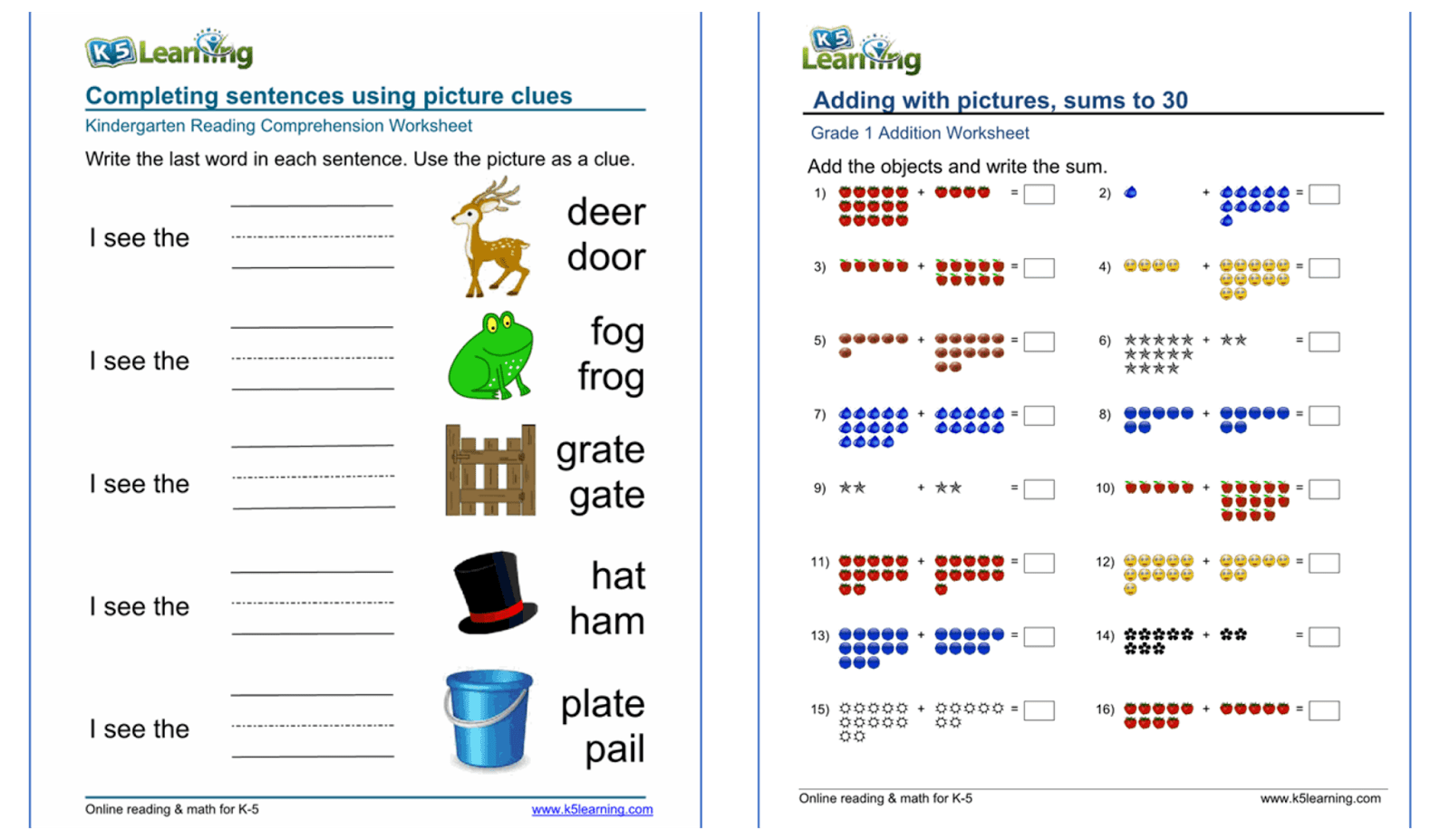 Get Free Online Kids Lessons And Worksheets With K5
