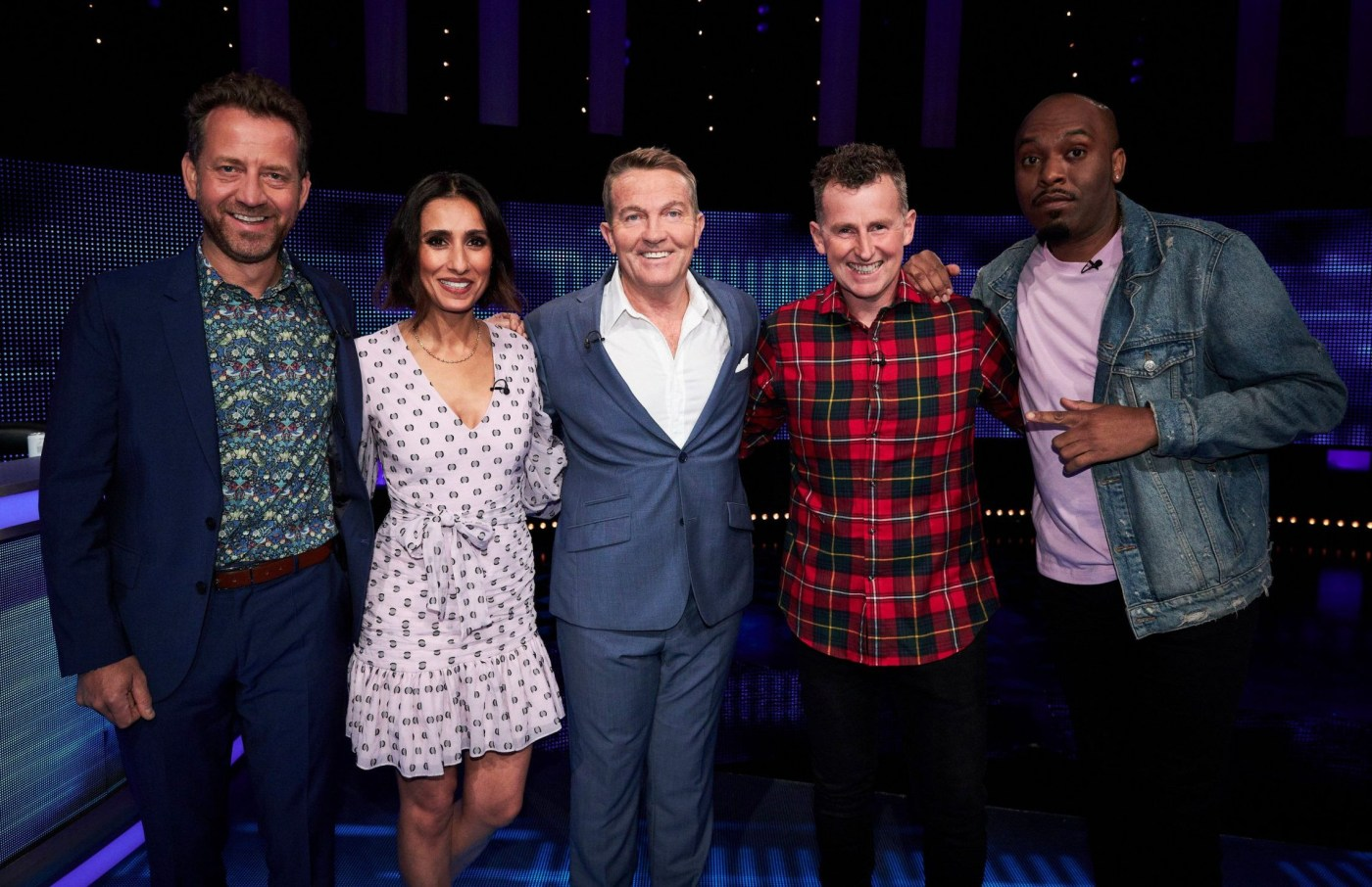 Editorial use only Mandatory Credit: Photo by ITV/REX (10944394d) (L-R) Mark Pougatch, Anita Rani, Bradley Walsh, Nigel Owens and Dane Baptiste 'The Chase Celebrity Special' TV Show, Series 11, Episode 7, UK - 17 Oct 2020 The Chase Celebrity Special, is a British ITV quiz show hosted by Bradley Walsh in which contestants play against a professional quizzer, the