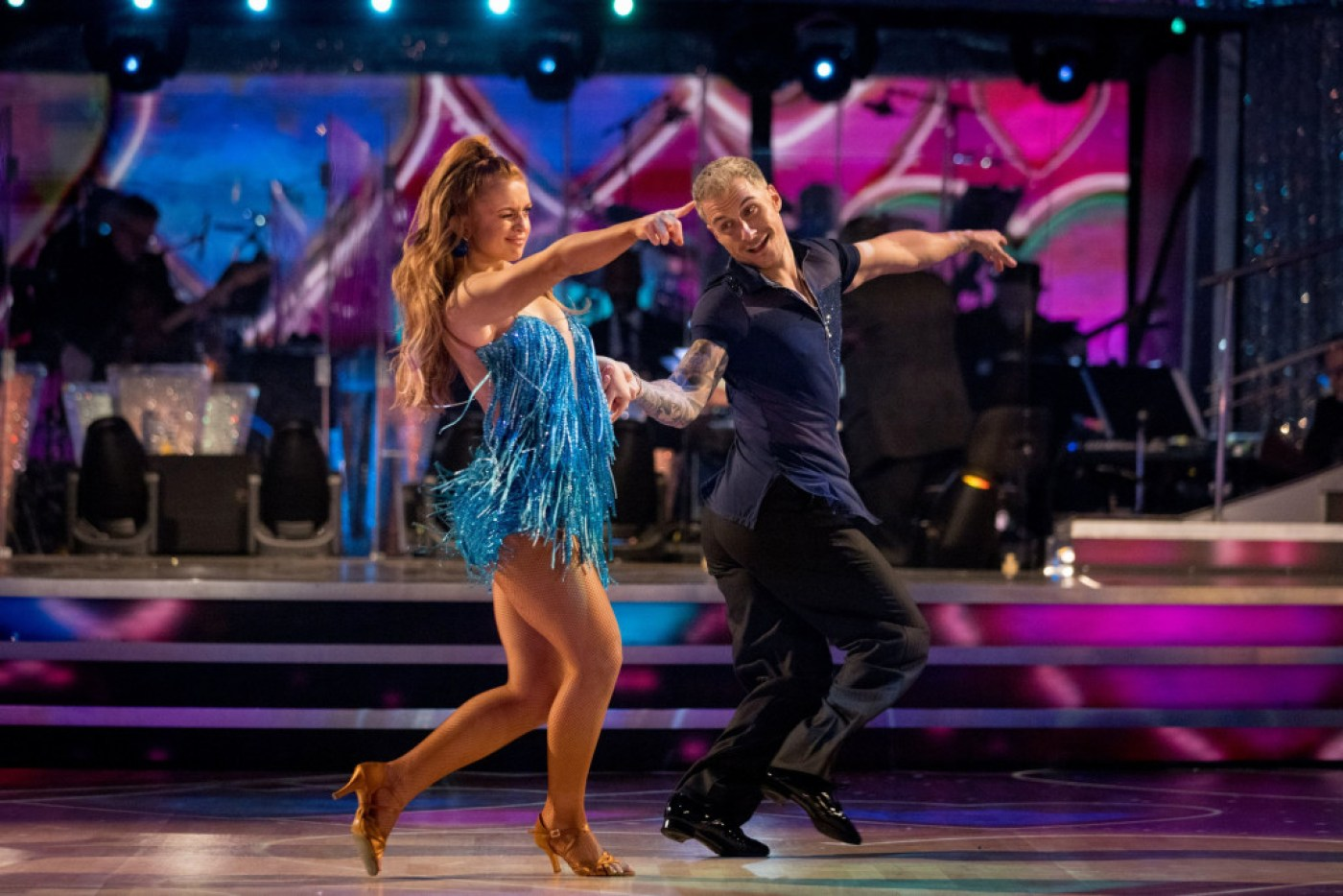 For use in UK, Ireland or Benelux countries only Undated BBC handout photo of Maisie Smith and Gorka Marquez during the launch show for the BBC1 dancing contest, Strictly Come Dancing. PA Photo. Issue date: Saturday October 17, 2020. See PA story SHOWBIZ Strictly. Photo credit should read: BBC/PA Wire NOTE TO EDITORS: Not for use more than 21 days after issue. You may use this picture without charge only for the purpose of publicising or reporting on current BBC programming, personnel or other BBC output or activity within 21 days of issue. Any use after that time MUST be cleared through BBC Picture Publicity. Please credit the image to the BBC and any named photographer or independent programme maker, as described in the caption.