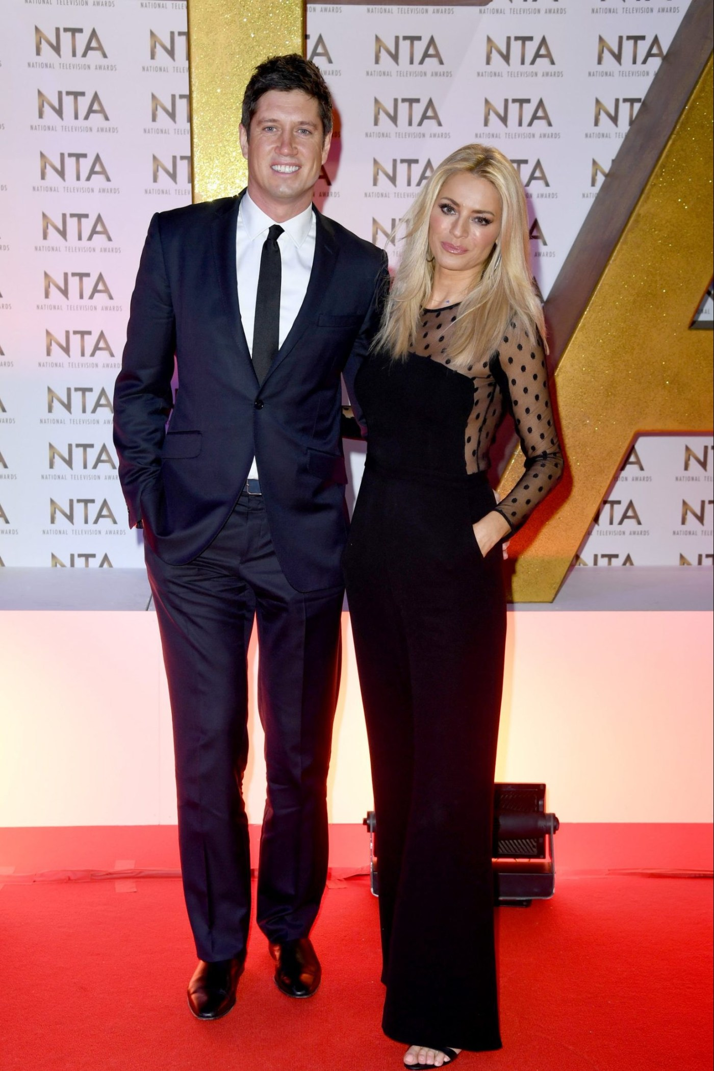 Mandatory Credit: Photo by Anthony Harvey/REX/Shutterstock (10537865en) Tess Daly and Vernon Kay 25th National Television Awards, Arrivals, O2, London, UK - 28 Jan 2020