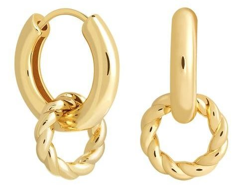 My Celebrity Life – Astrid Miyu Rope Charm Hoops in Gold