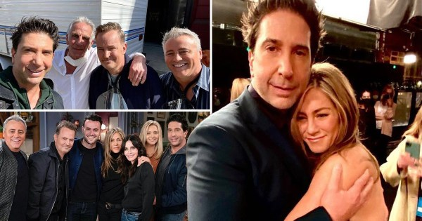 David Schwimmer cuddles Jennifer Aniston in backstage snap from Friends reunion after confirming 'major crush' on co-star