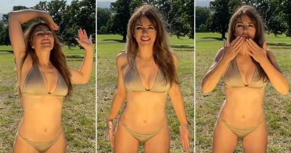 Elizabeth Hurley makes the most of the UK sunshine in gold bikini and yes, she really is 55