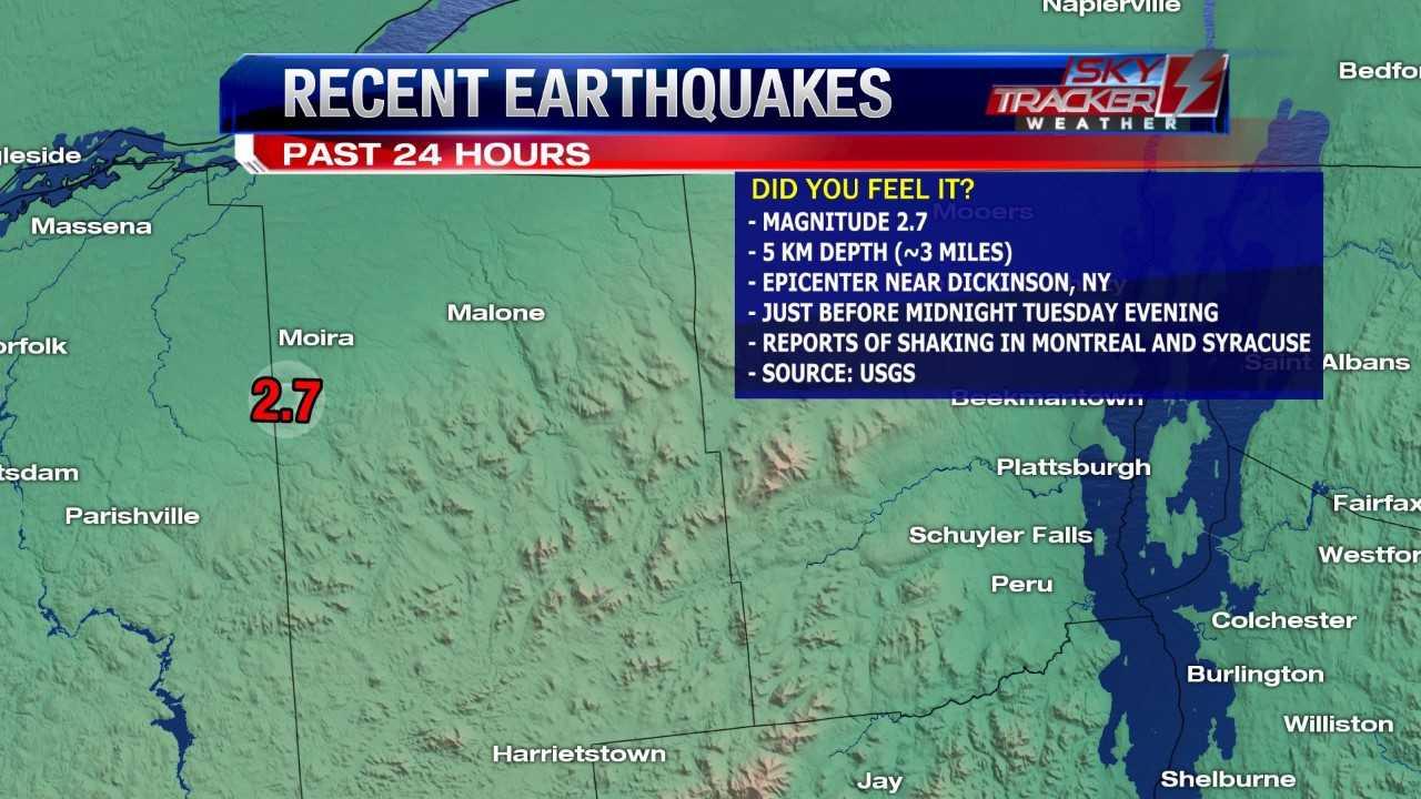 Small earthquake near Malone, NY