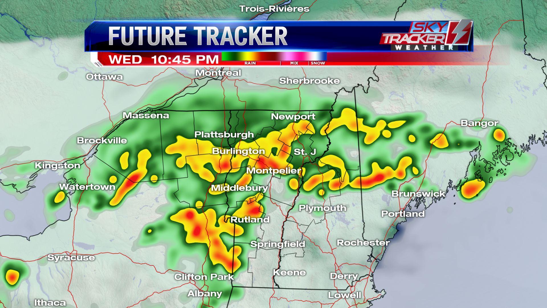 Heavy rain Wednesday night