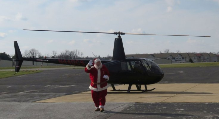 Santa Landing at American Helicopter Museum and Education Center December 14