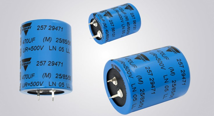 Vishay Intertechnology Snap-in Power Aluminum Capacitors Enable Higher Power Density to Save PCB Space, Lower Costs