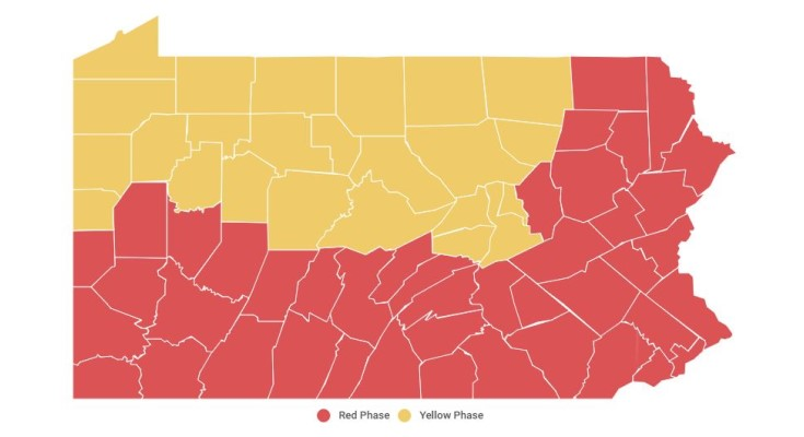 Gov. Wolf, Sec. of Health Extent Orders for Chester County, Counties in Red