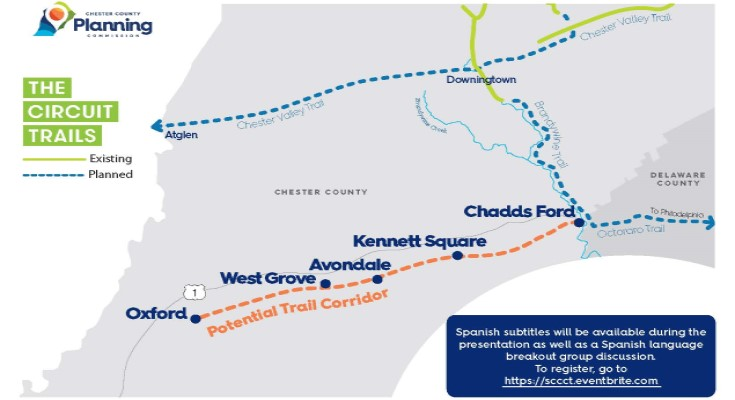 Planning Commission Conducts Virtual Public Meeting about Southern Chester County Circuit Trail Feasibility Study
