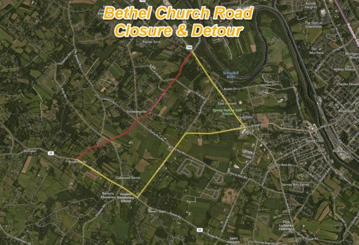 Bethel Church Road to Close Next Week for Base Repair in East Coventry Township