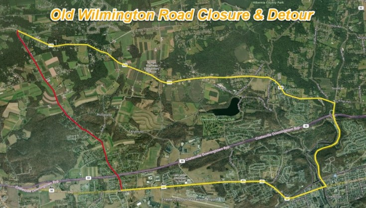 Old Wilmington Road to Close for Base Repair in West Caln, Sadsbury Townships