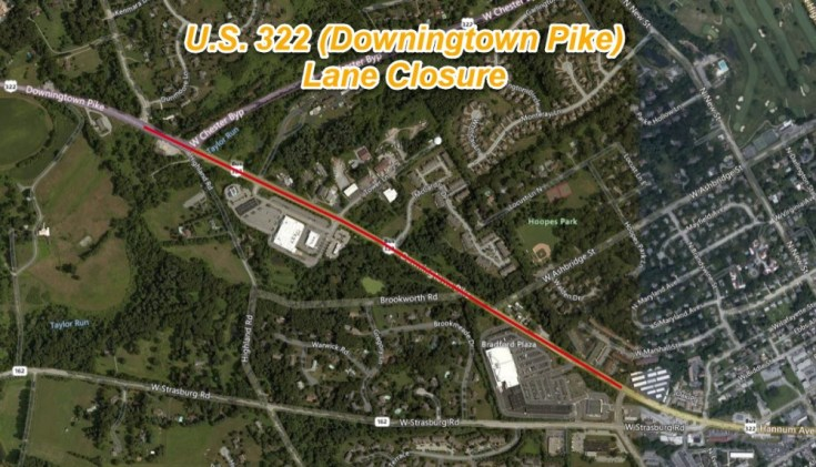 U.S. 322 (Downingtown Pike) Reduced to Single Lane Beginning Next Week for Shoulder Cutting in Chester County