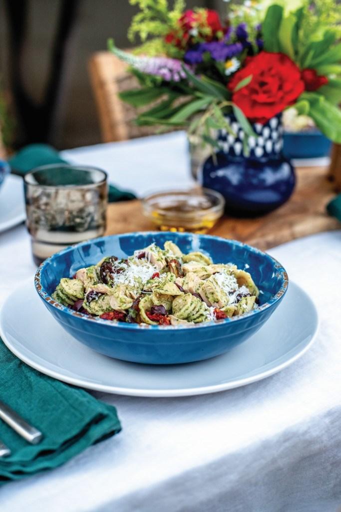 Yellowfin Tuna Pasta Salad with Arugula Pesto and Dates