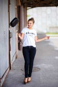 Fashion blogger wearing a celine shirt. Ideas on how to style an outfit with a celine tshirt.