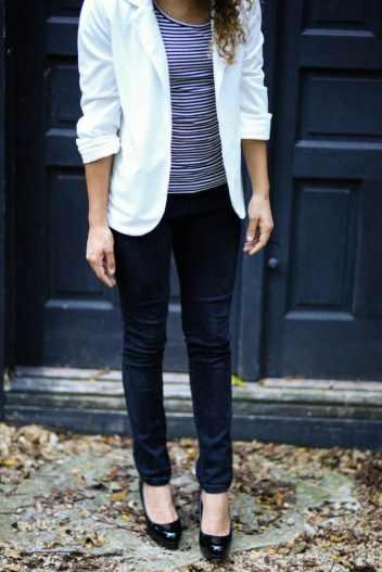 how to wear a white blazer. white blazer and stripes