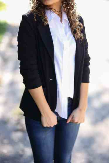 white blazer and white button down