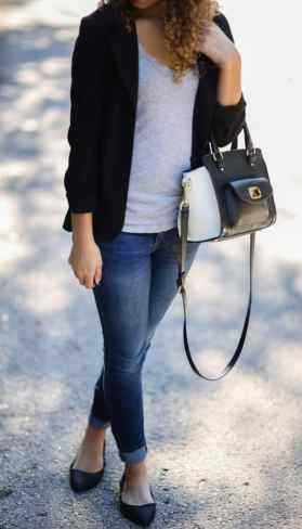 black blazer and gray tee