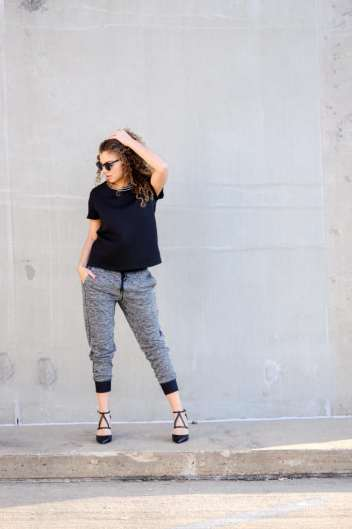 jogger and heels outfit