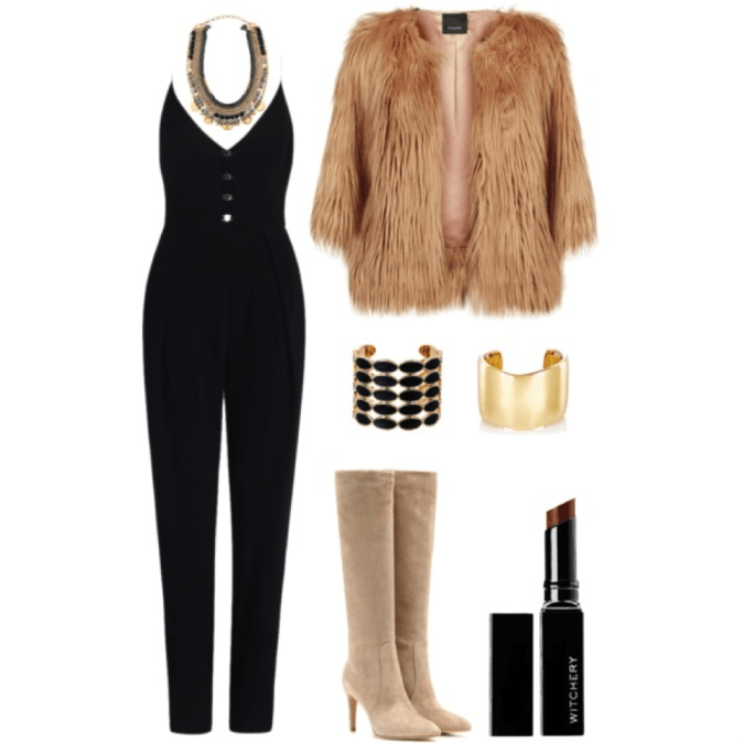 fur coat and jumpsuit