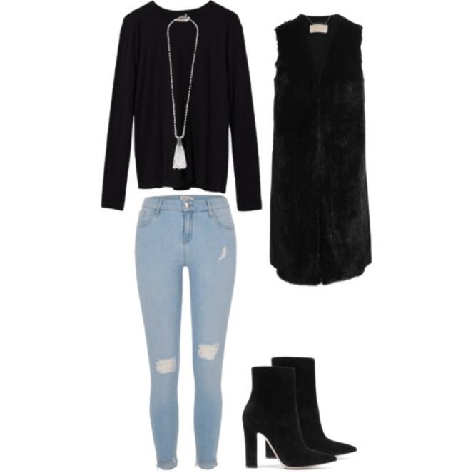 fur vest and tassel necklace