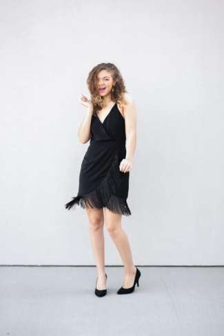 black fringe dress