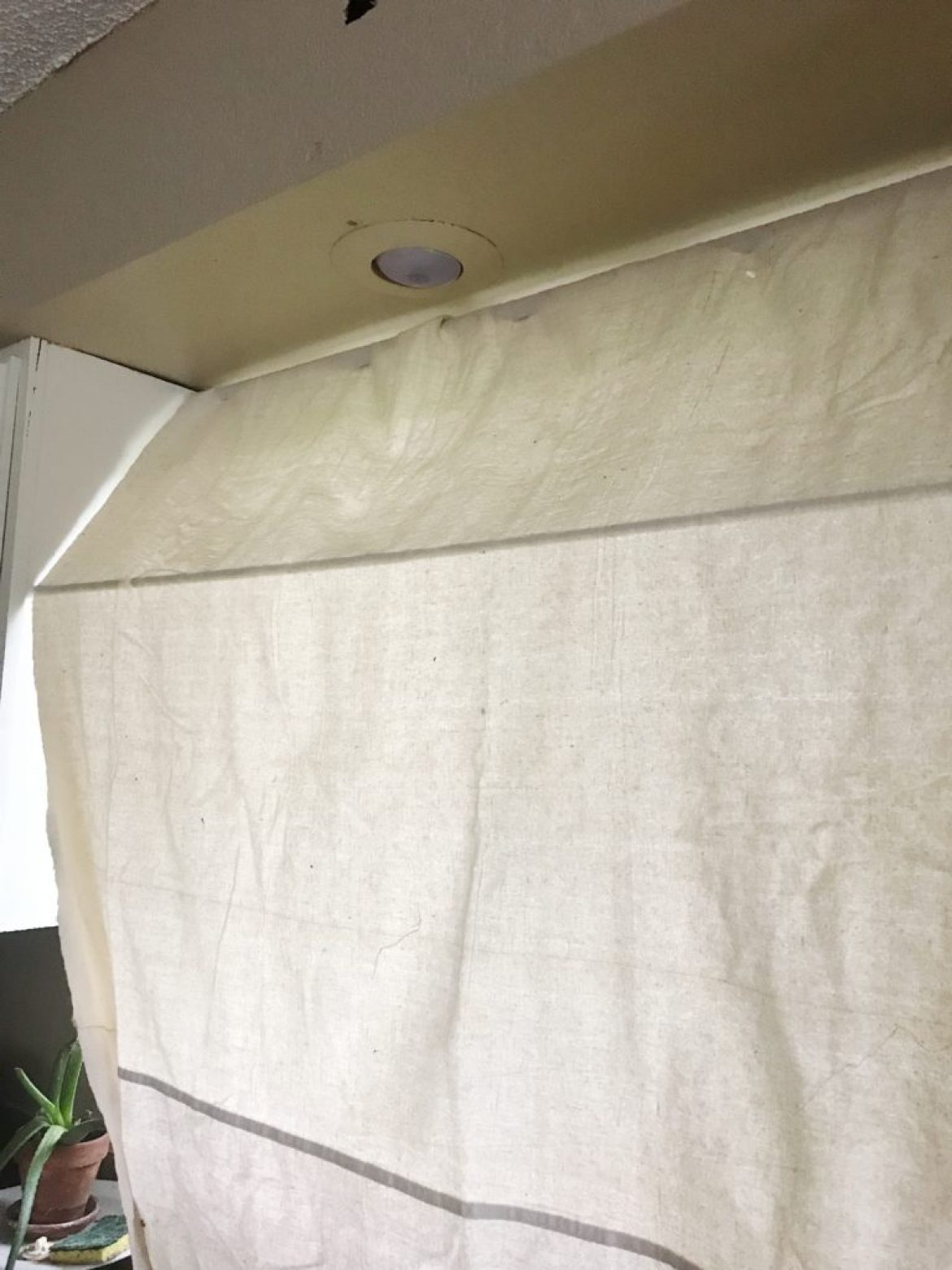 diy drop cloth striped kitchen awning