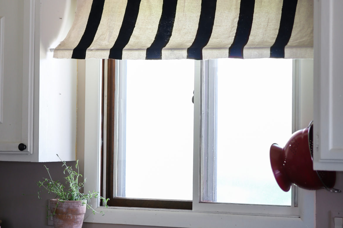 Diy Black And White Striped Kitchen Window Awning From