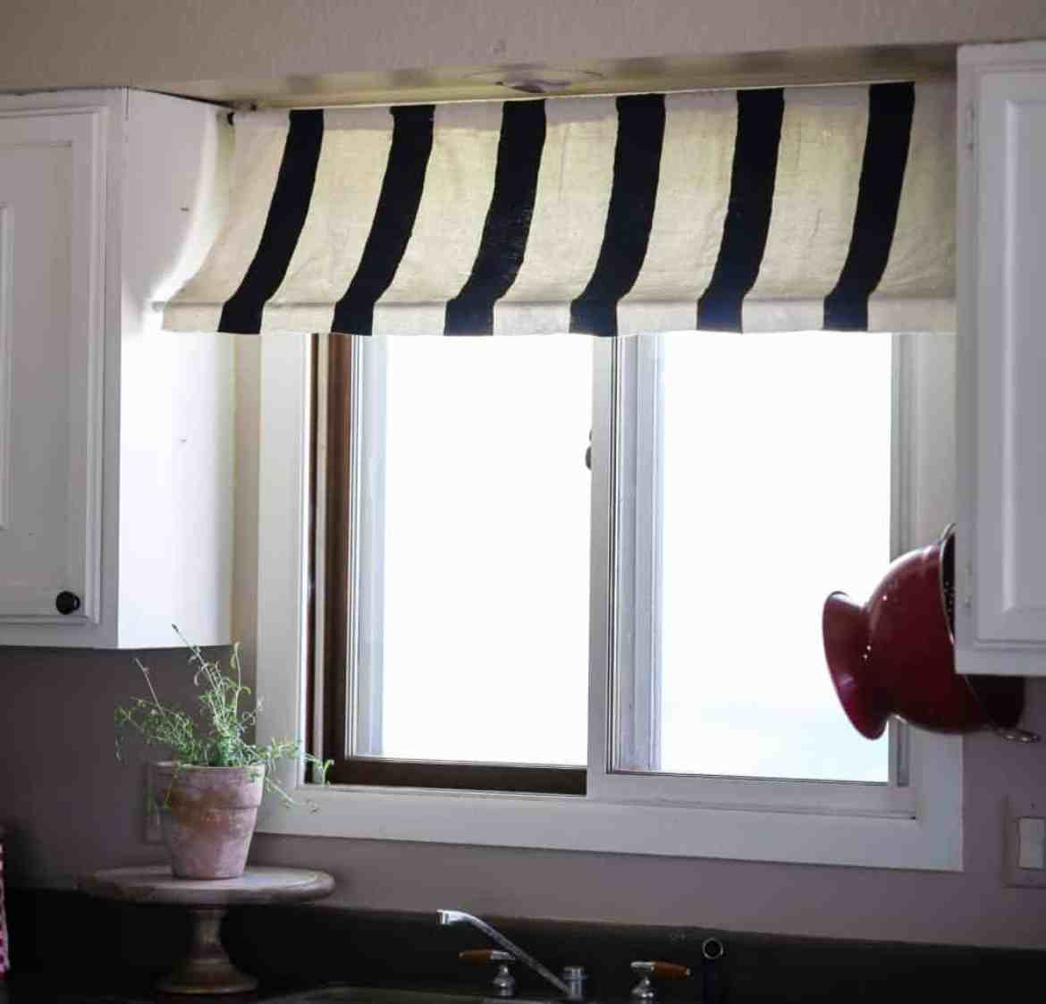 diy striped kitchen curtain awning french style