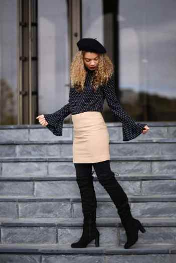 camel skirt fall outfit fall fashion