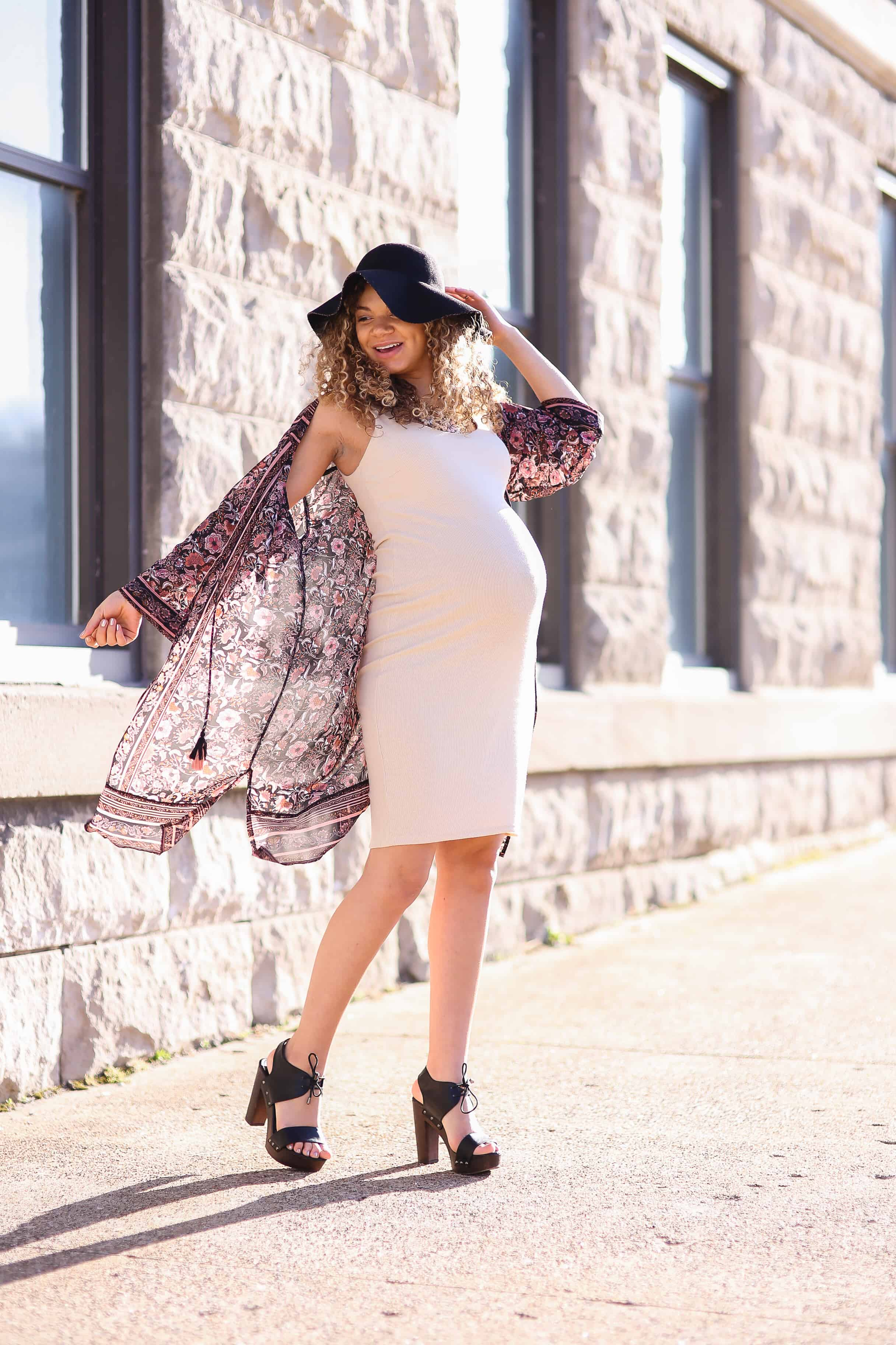 boho chic maternity fashion spring outfit