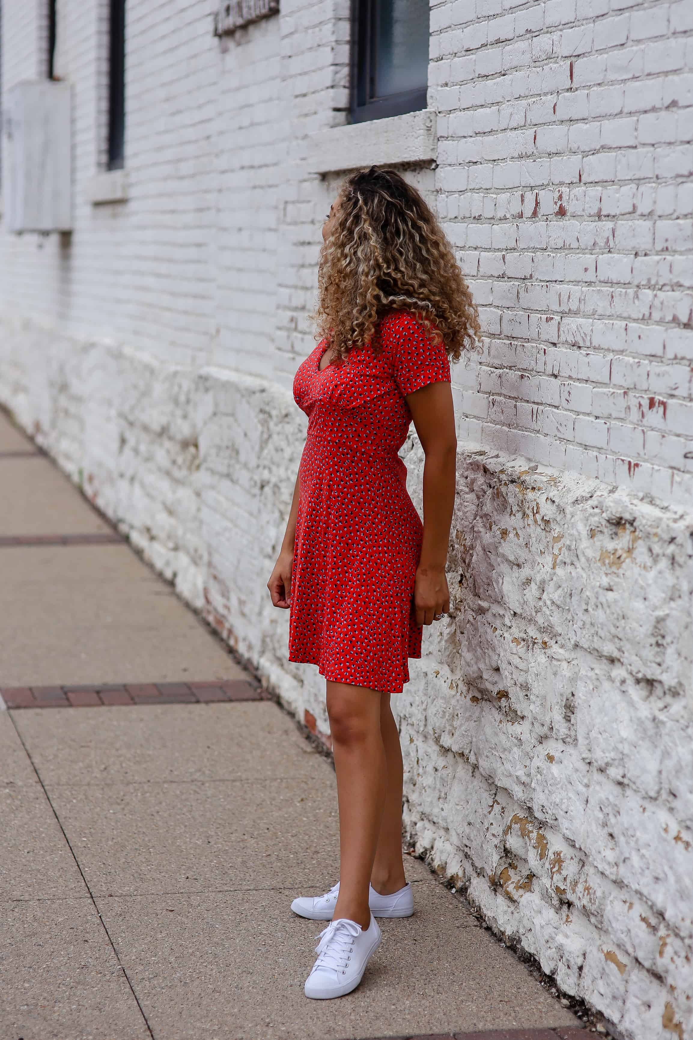 red dress and sneakers