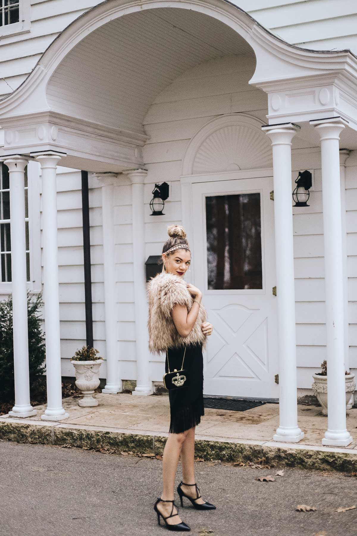 The perfect holiday outfit with a little black dress, faux fur, and a velvet clutch