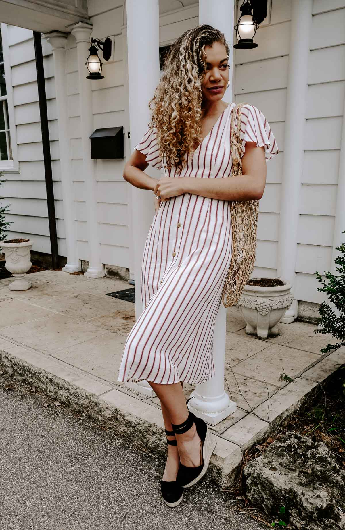 red striped dress inspired by french fashion