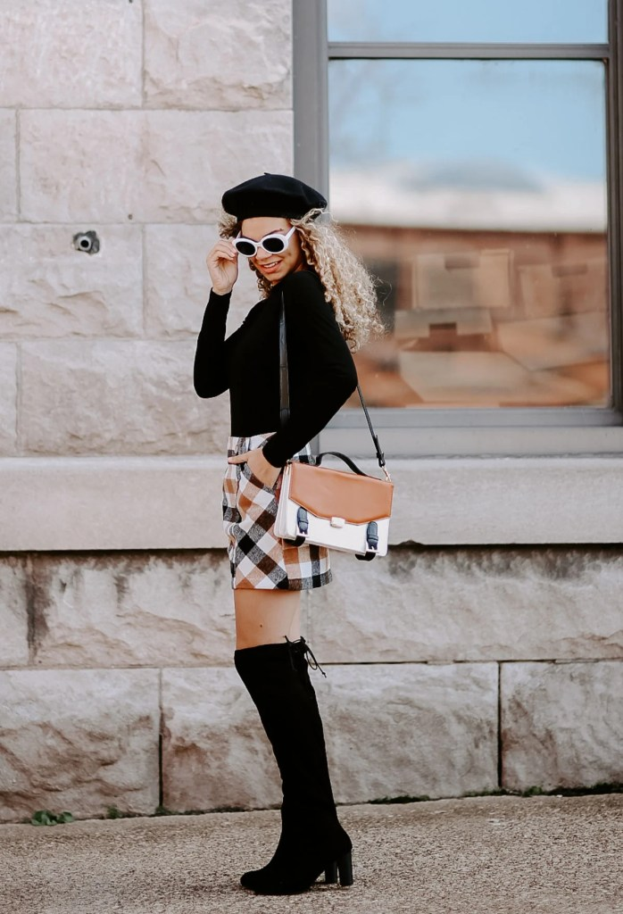 plaid mini skirt outfit