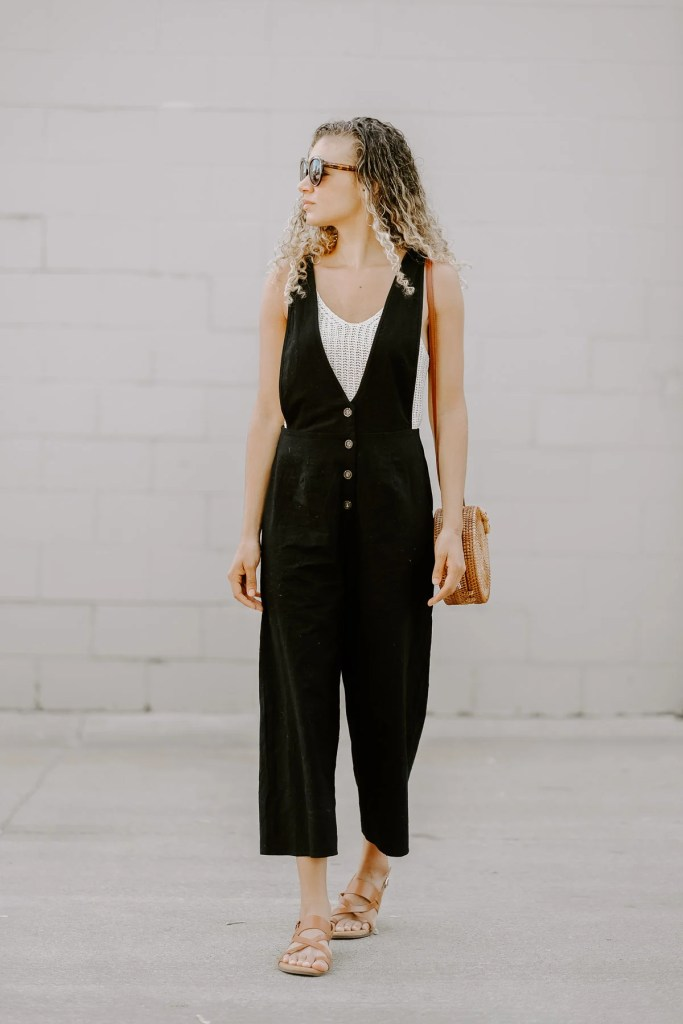 Black linen jumpsuit outfit for summer